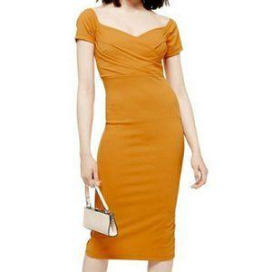 TOPSHOP Off Shoulder Midi Dress Size 4
